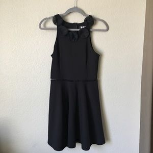 In Awe Black Floral Neckline Mini Dress Medium